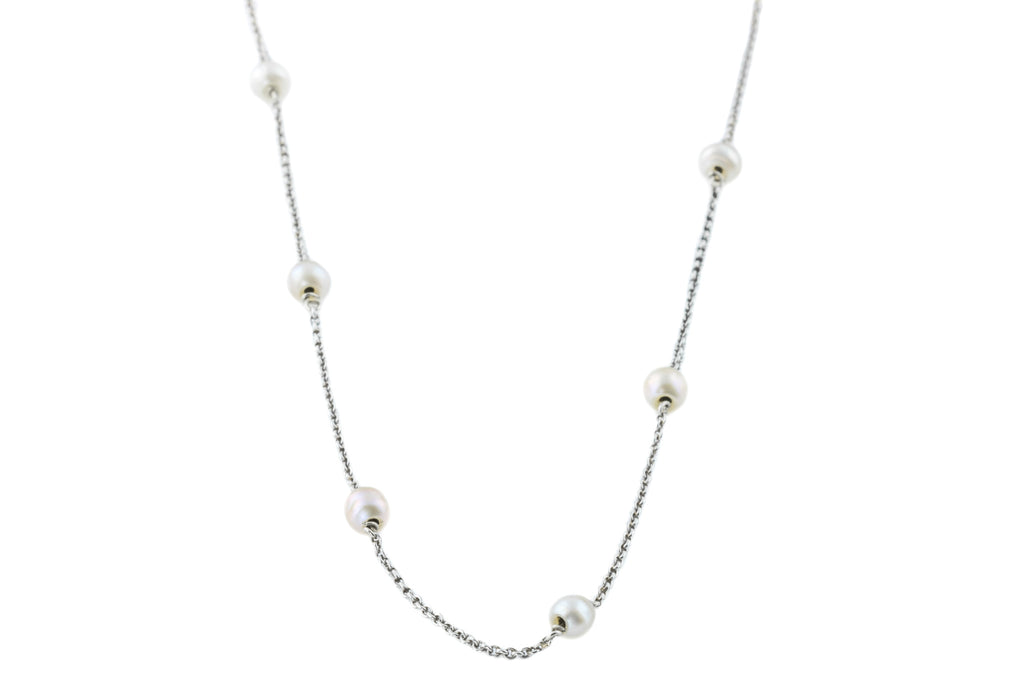 Antique Platinum and Natural Pearl Necklace - 17""