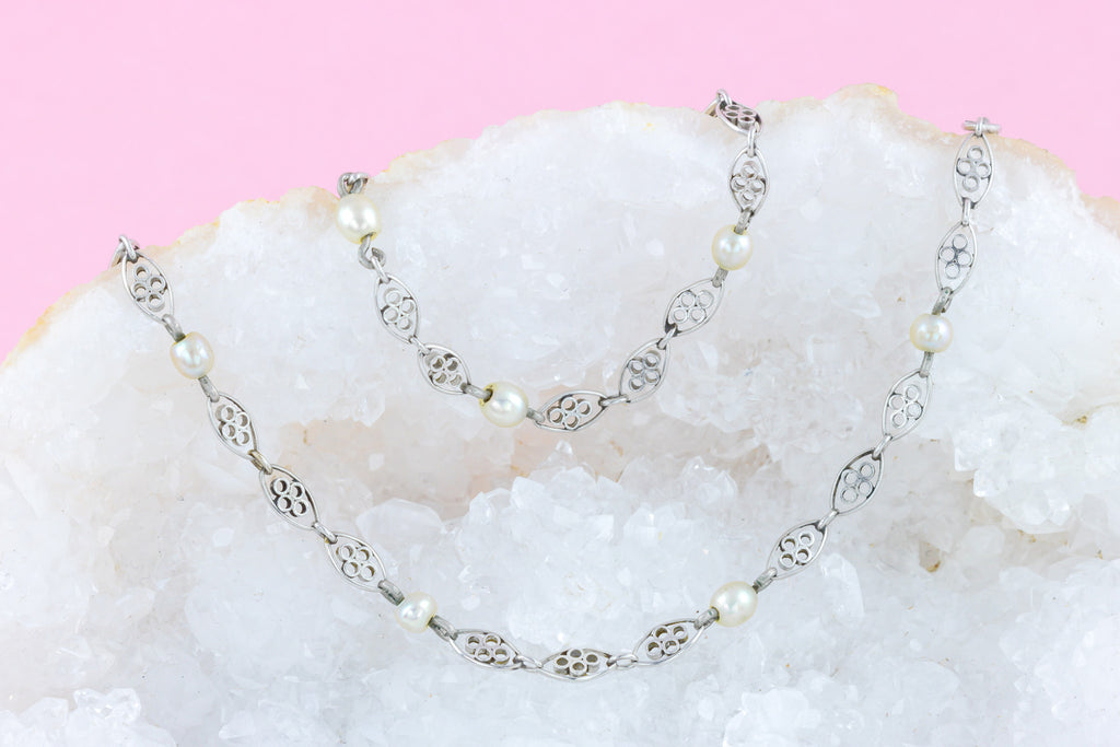 Antique Platinum Necklace with Natural Pearl Beads