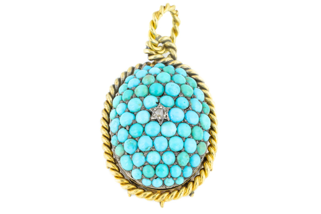 Victorian Turquoise and Diamond Locket