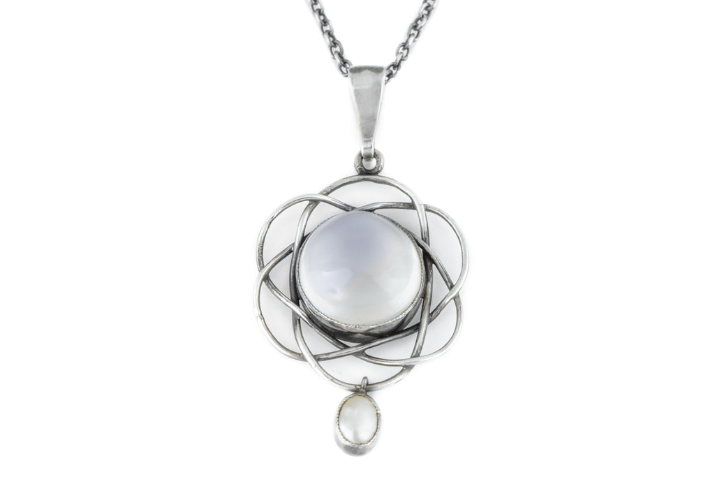 Arts and Crafts Era Moonstone and Pearl Pendant