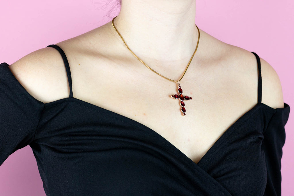 Georgian Garnet Cross Pendant on 10ct Gold