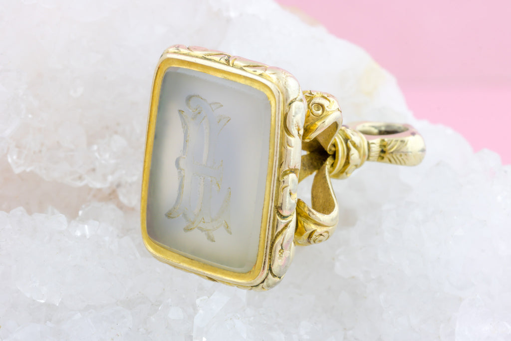 Antique Chalcedony Fob Pendant with Split Ring