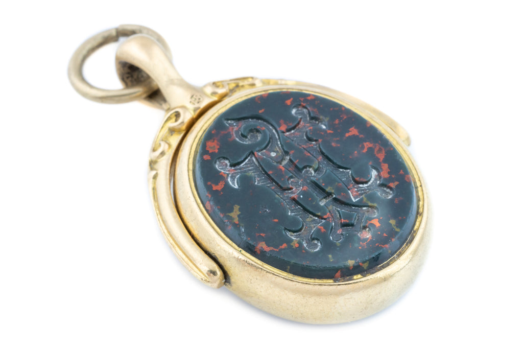 Victorian Bloodstone and Carnelian Spinner Fob Pendant in 15ct Gold