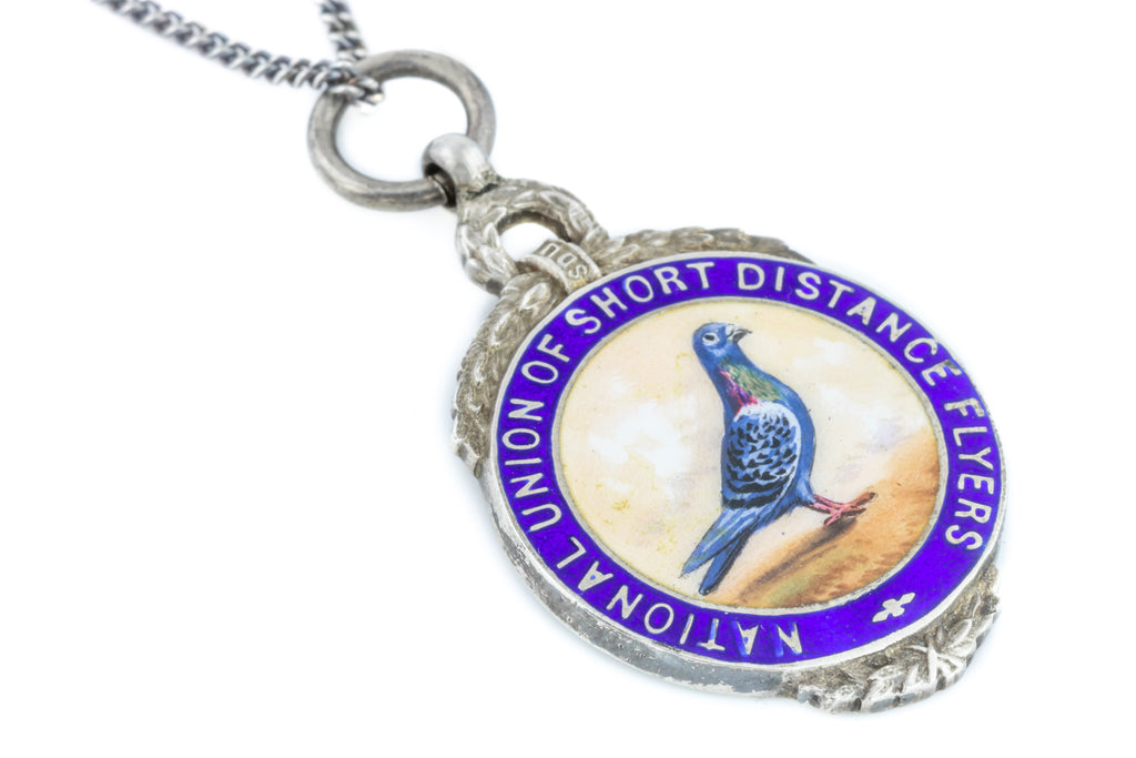 Art Deco Silver and Enamel Medal Fob Pendant c.1922