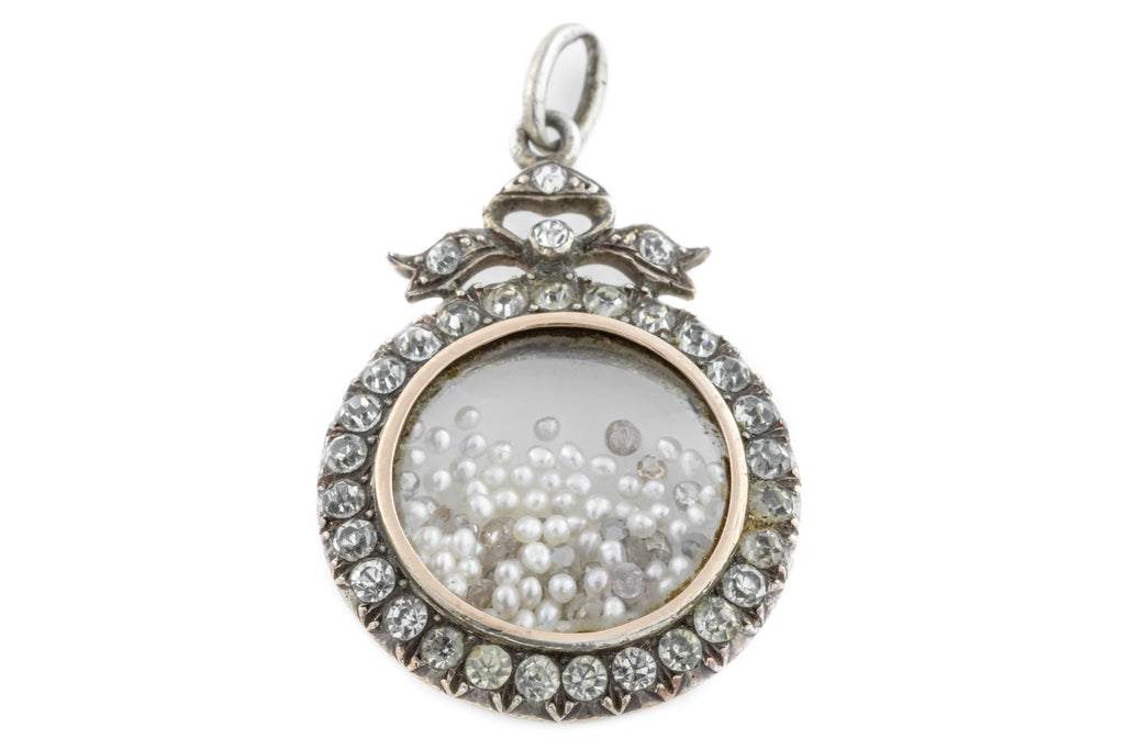 Silver Edwardian Paste Shaker Locket with Bow Motif
