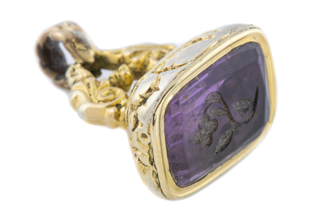 Antique Amethyst Fob Pendant with Forget-Me-Not Intaglio