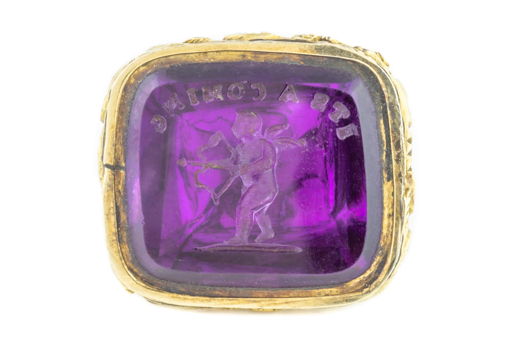 "Rare Amethyst Paste Fob Seal Pendant with Cupid Intaglio ""It's a comin!"""
