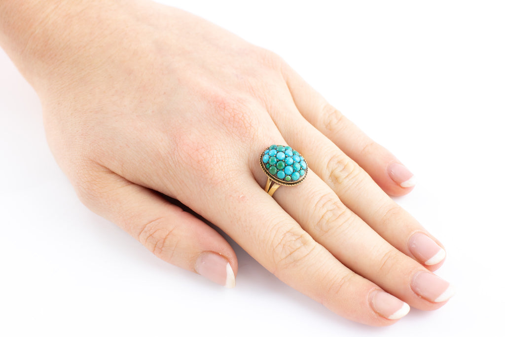 15ct Gold Victorian Turquoise Cluster Ring