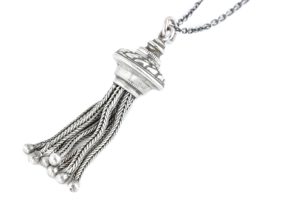 Antique Silver Tassel Charm Pendant, with Chain
