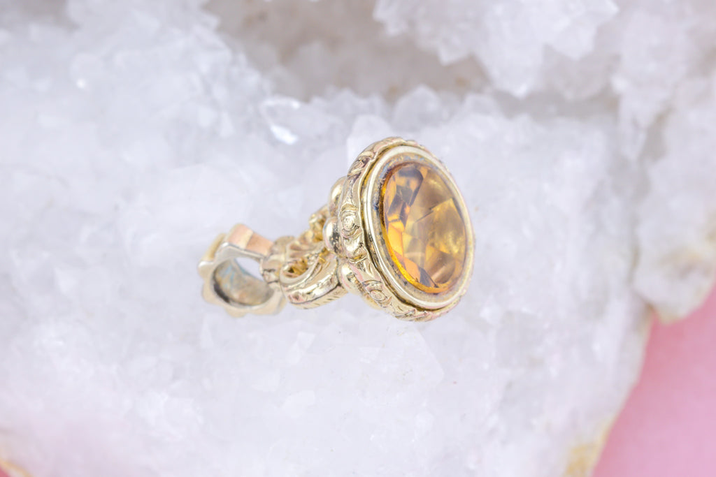 Antique Citrine Paste Fob Charm Pendant
