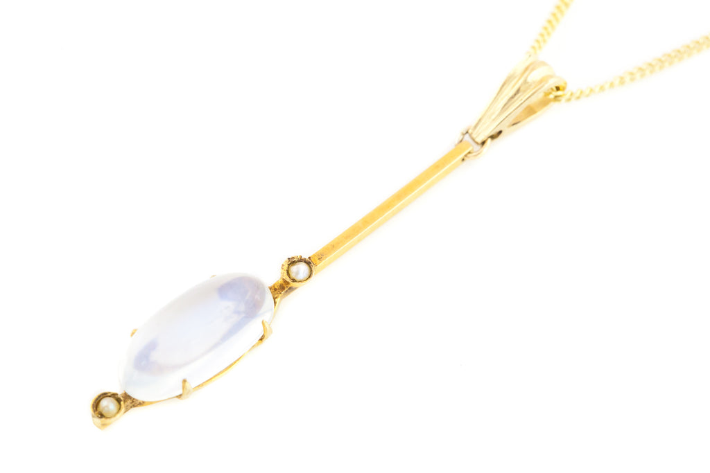 9ct Gold Antique Moonstone Pendant & Chain - 2.5ct Edwardian Moonstone Pendant