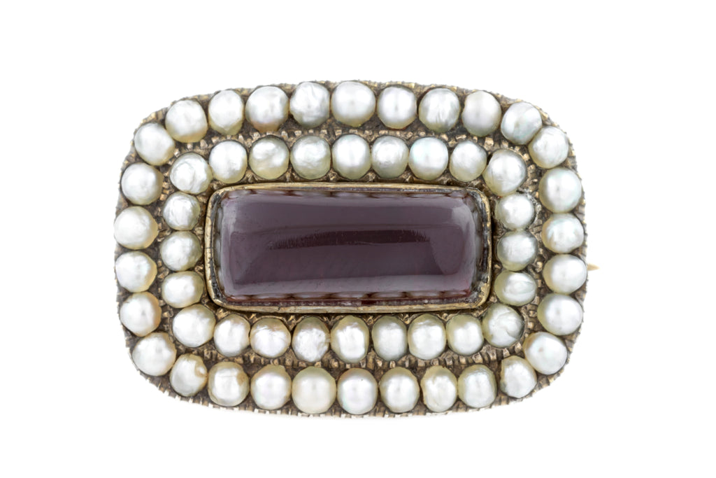 Georgian Garnet and Pearl Brooch (1.95ct)