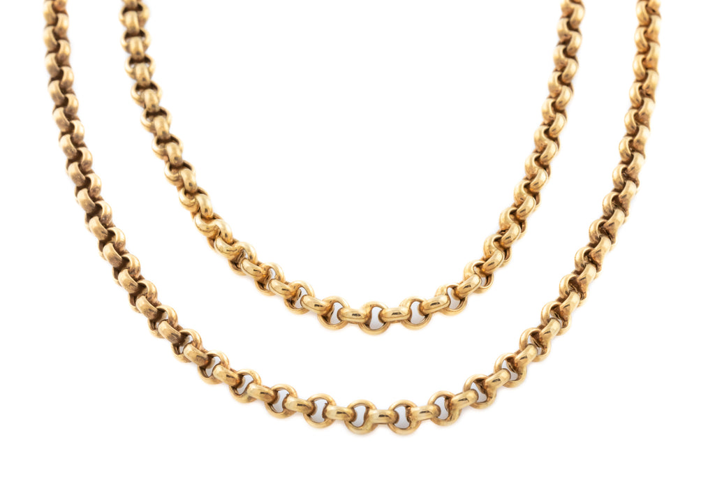 Antique 9ct Rose Gold Belcher Chain Necklace