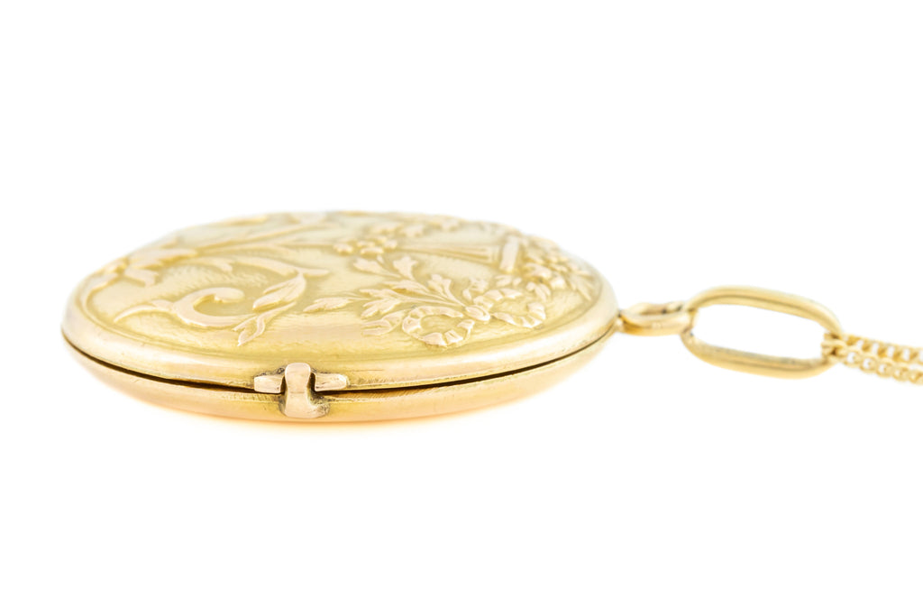 "French Art Nouveau 18ct Gold Locket, with 20"" Chain"