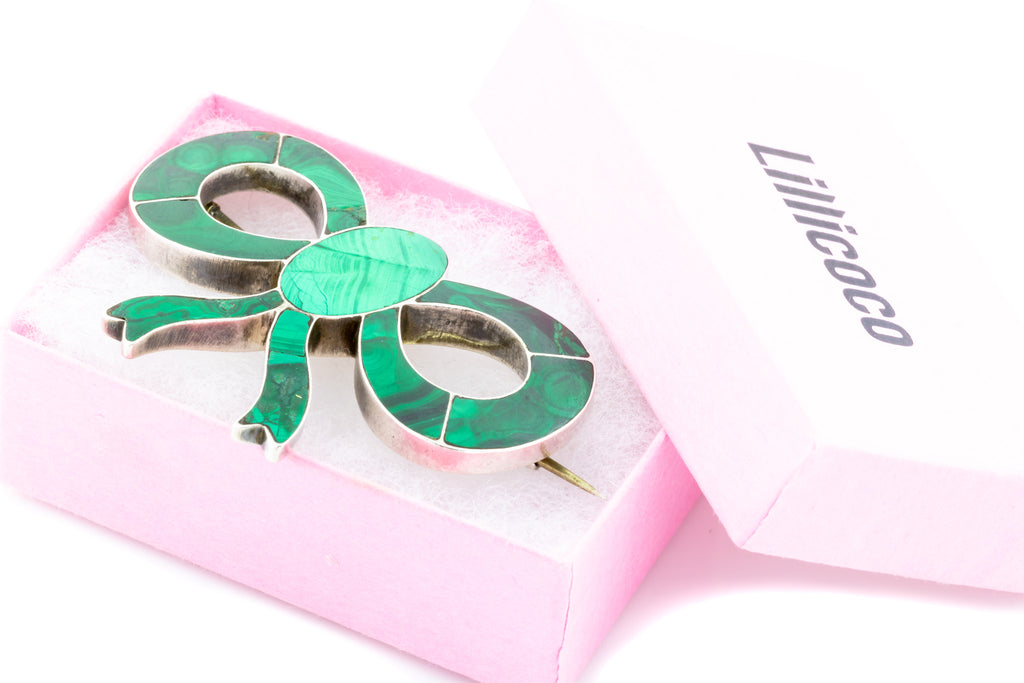 Silver Antique Malachite Bow Brooch