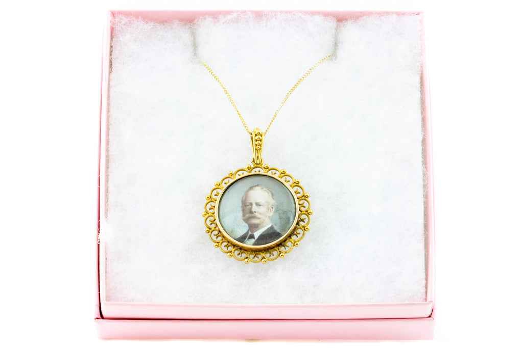 "Edwardian 18ct Gold Portrait Locket with 18"" Chain"
