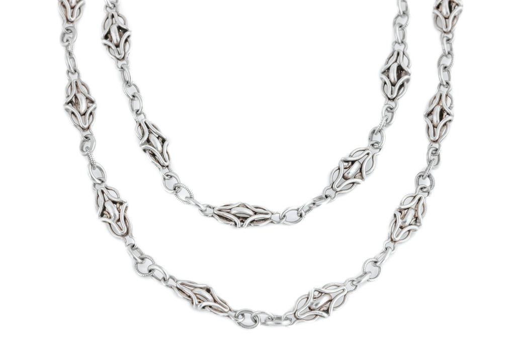 Arts and Crafts Era Silver Chain Necklace, 55""