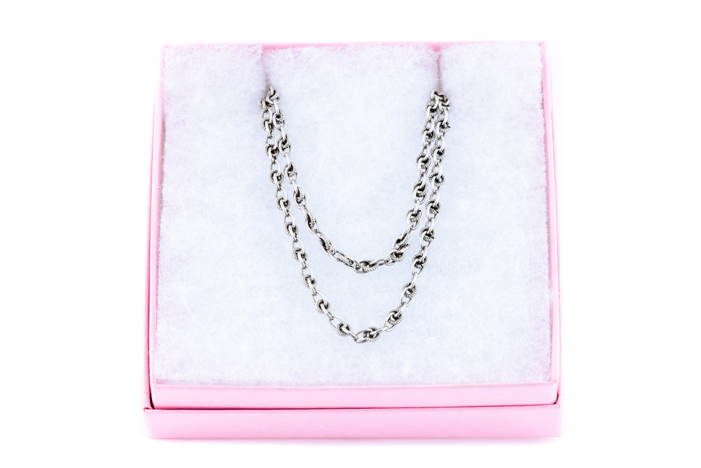 Long French Antique Silver Chain, 35""