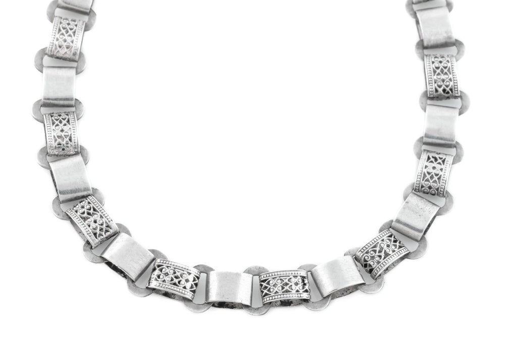 Victorian Silver Book Chain Necklace, 18""