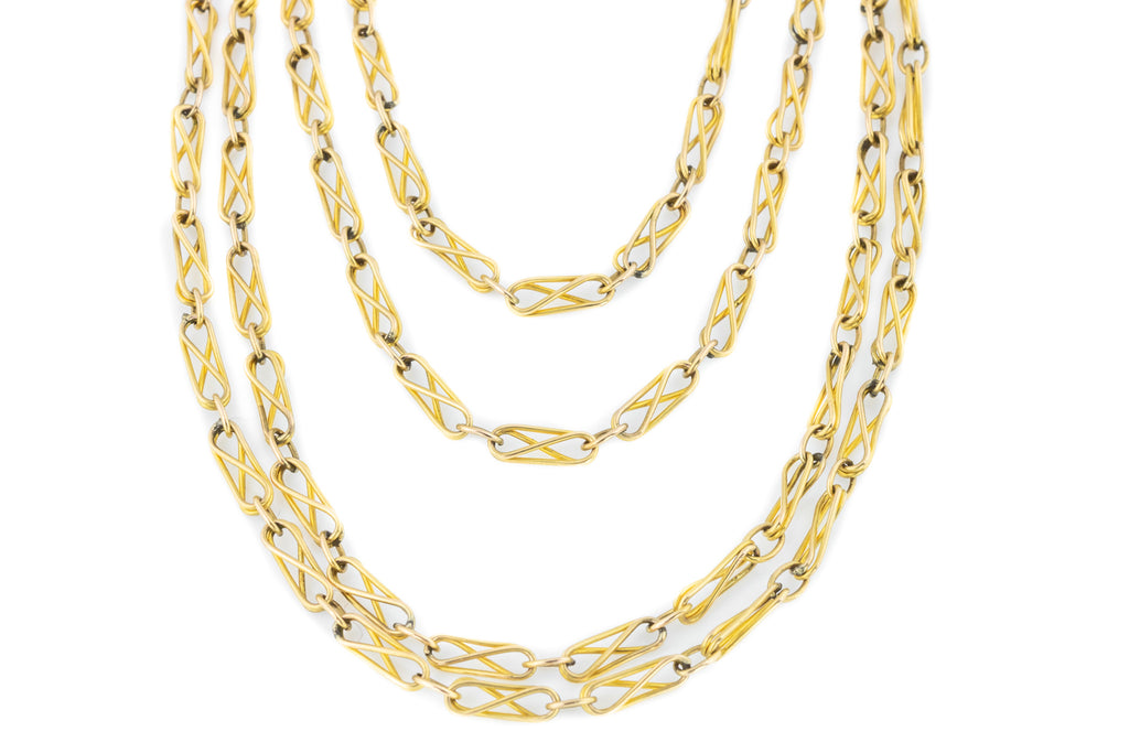 French Antique Long Guard Chain Necklace, 56""