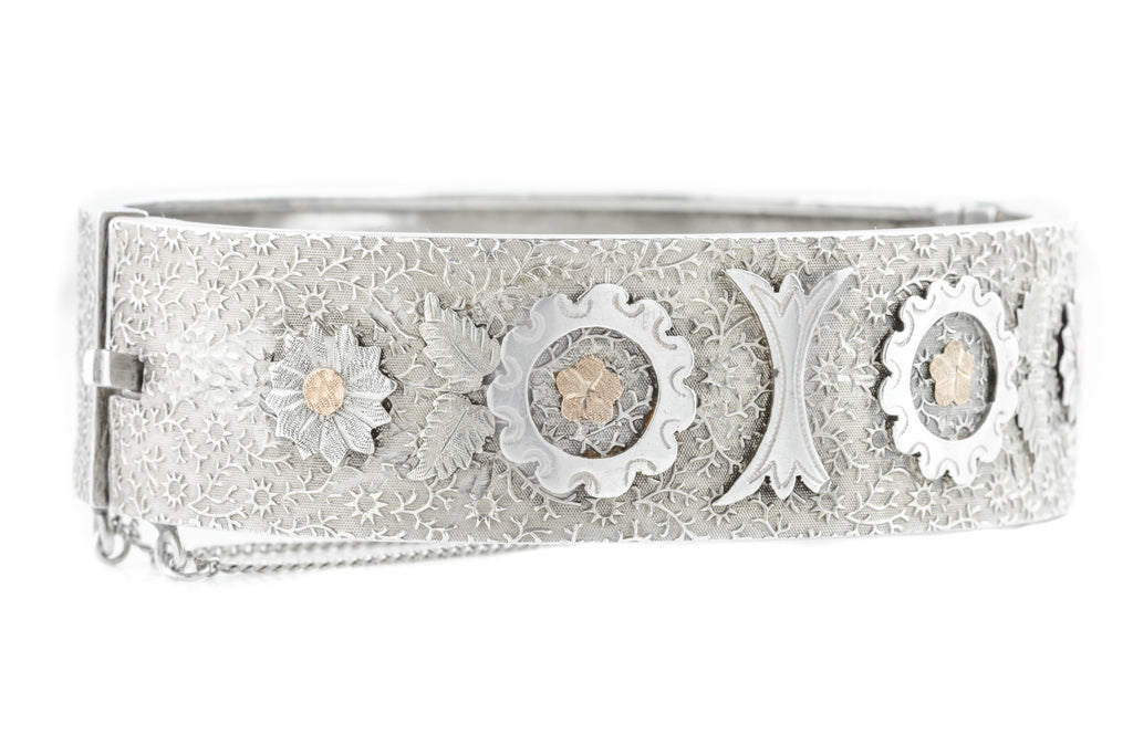 Victorian Aesthetic Silver Bangle with Rose Gold Flowers c.1880