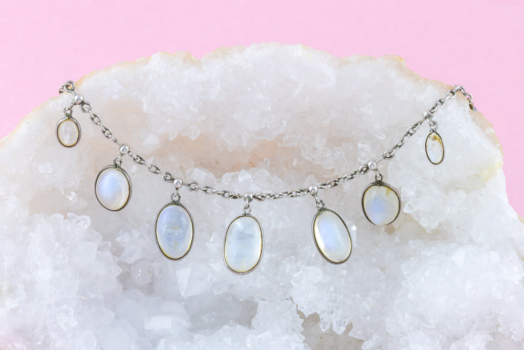 "RESERVED for ""S""! -Antique Victorian Silver Moonstone Necklace (12.94ct)"