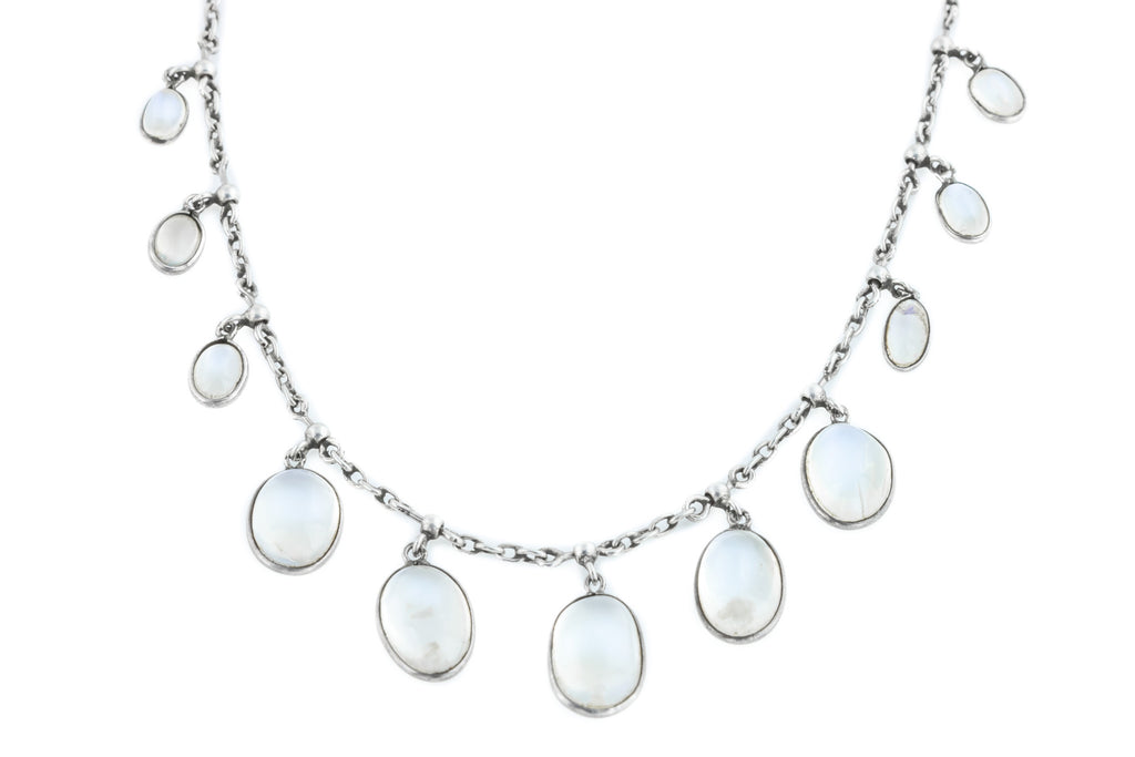 Antique Victorian Silver Moonstone Necklace (12.94ct)
