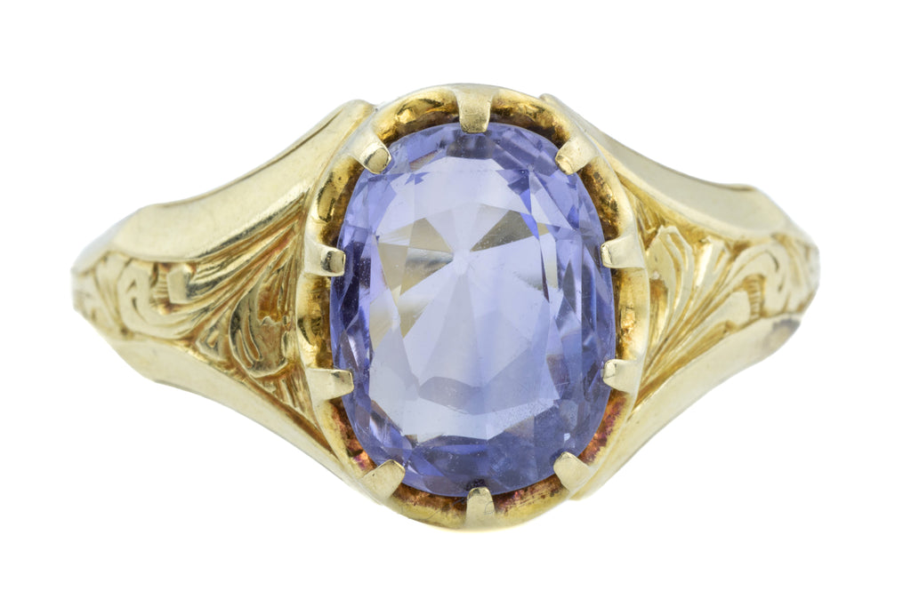 Rare 18ct Gold Antique Natural Sapphire Ring (2.40ct)