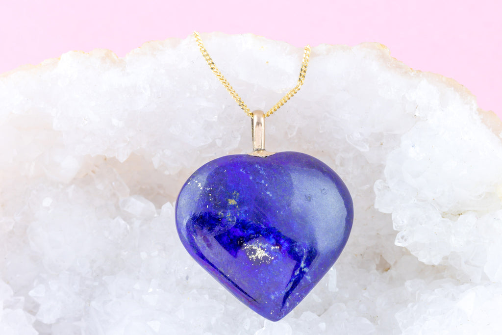 Antique 9ct Gold Lapis Lazuli Heart Pendant with Chain