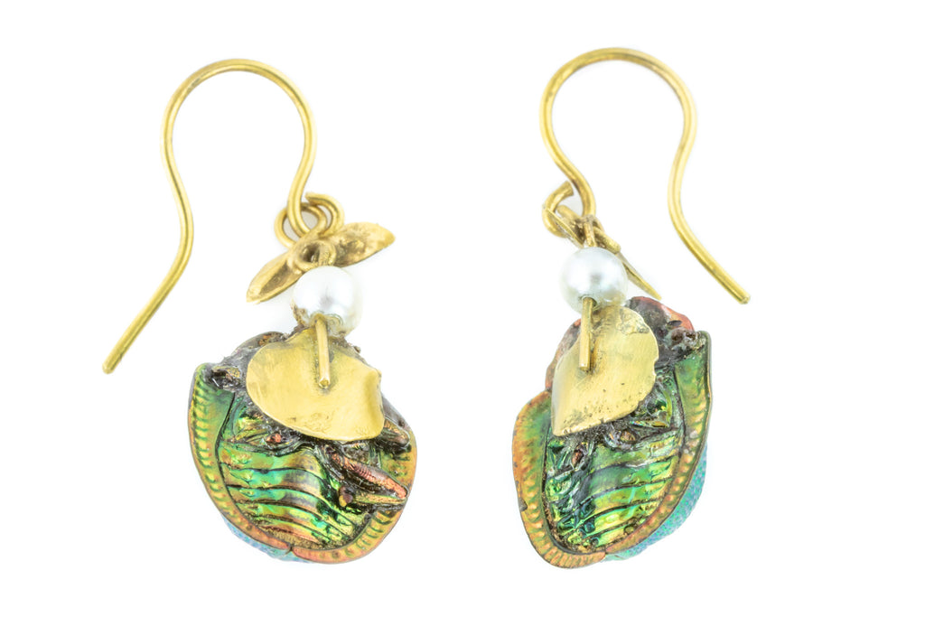 Antique Scarab Beetle Earrings