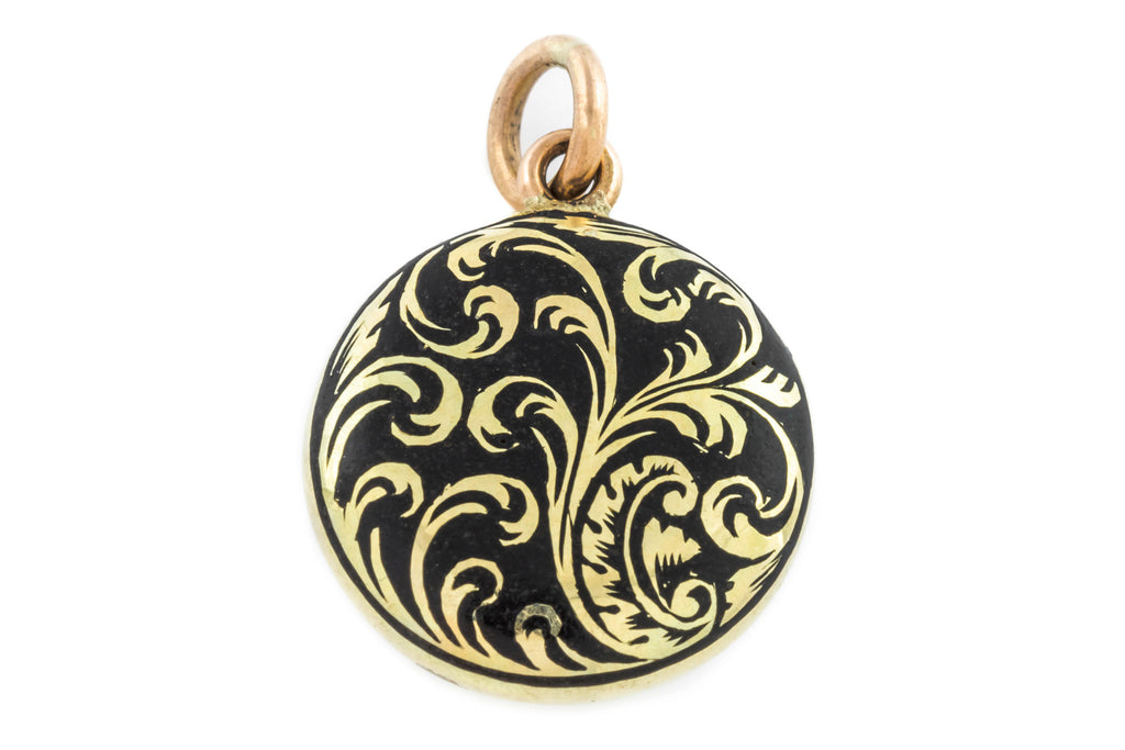 Victorian 18ct Gold Black Enamel Mourning Pendant