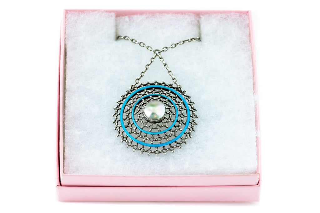 Arts and Crafts Era Blue Enamel Pendant Necklace