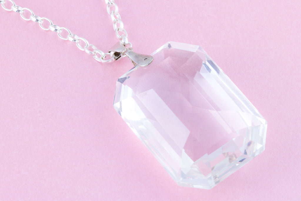 Art Deco Rock Crystal Pendant, with Chain