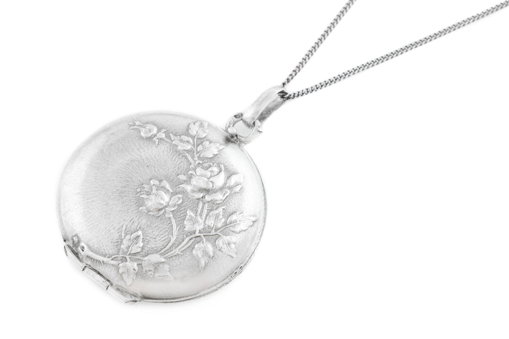 Antique French Silver Art Nouveau Locket with Chain