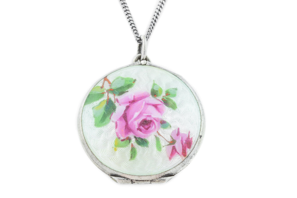 Art Nouveau Guilloche Enamel Locket