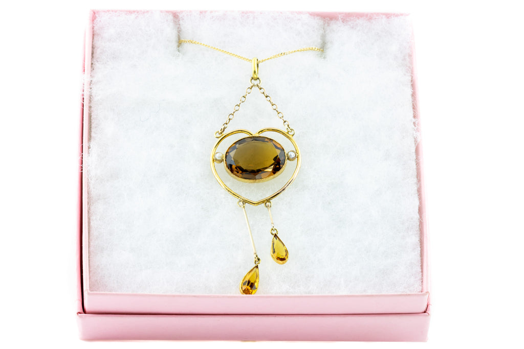 Antique Gold Edwardian Heart Pendant with Chain - Citrine Heart Pendant