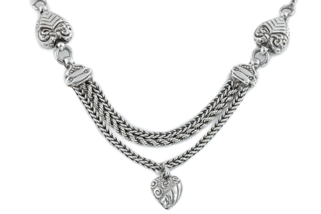 Antique Silver Heart Necklace