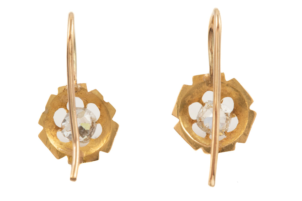 Victorian 22ct Gold Buttercup Diamond Earrings, (0.73ct)