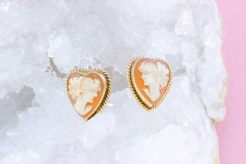 Vintage Cameo Stud Earrings