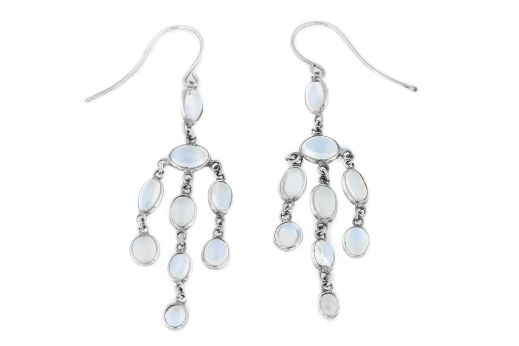 Antique Moonstone Chandelier Drop Earrings