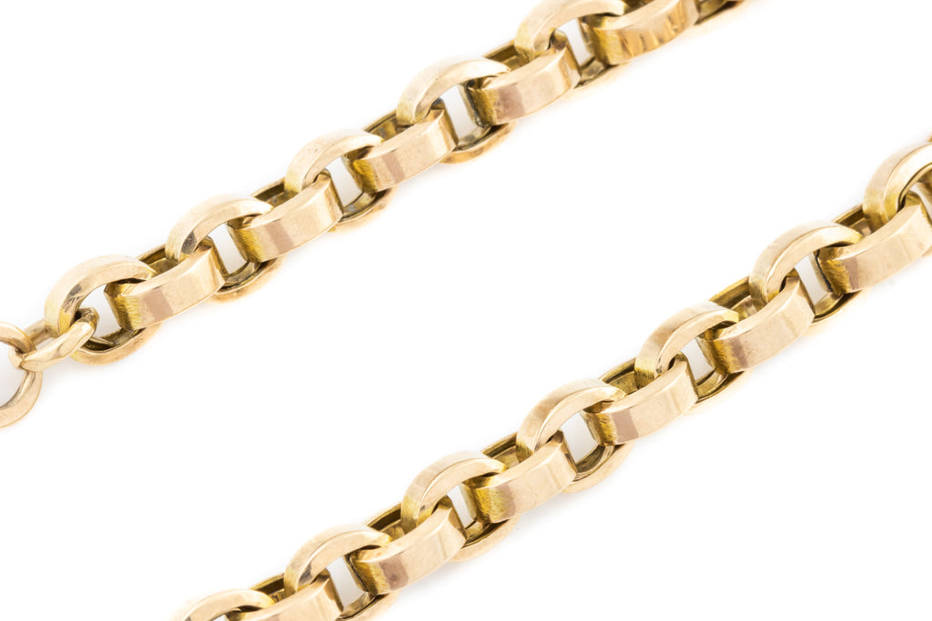 "Antique 10ct Gold Belcher Chain Bracelet, 7.3"" (13.5g)"