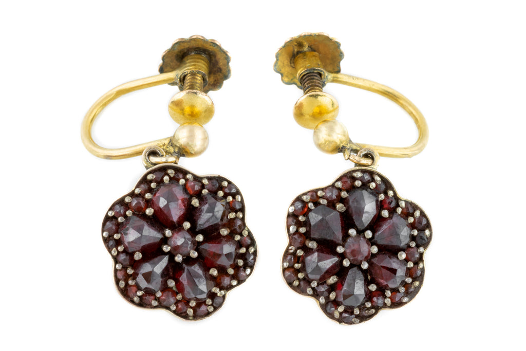 9ct Gold Antique Garnet Drop Earrings with Screw-backs