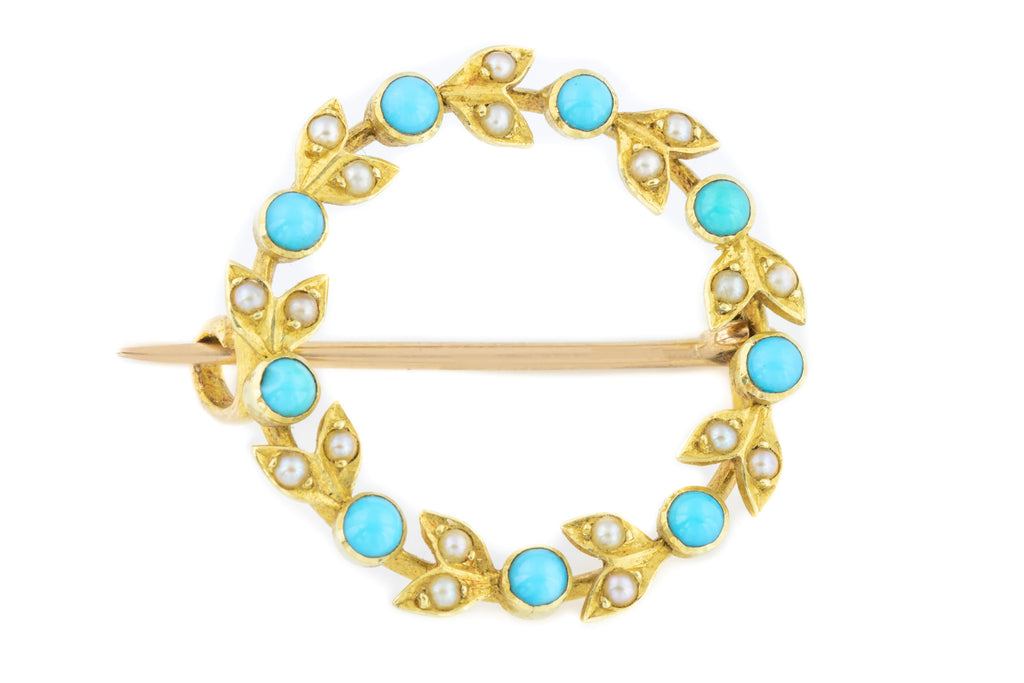 Edwardian Turquoise and Pearl Brooch in 15ct Gold
