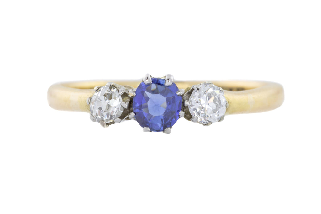 Antique Diamond and Sapphire Trilogy Ring