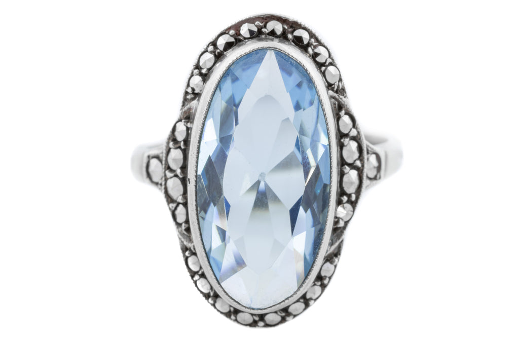 Art Deco Silver Ring with Topaz Glass and Marcasite