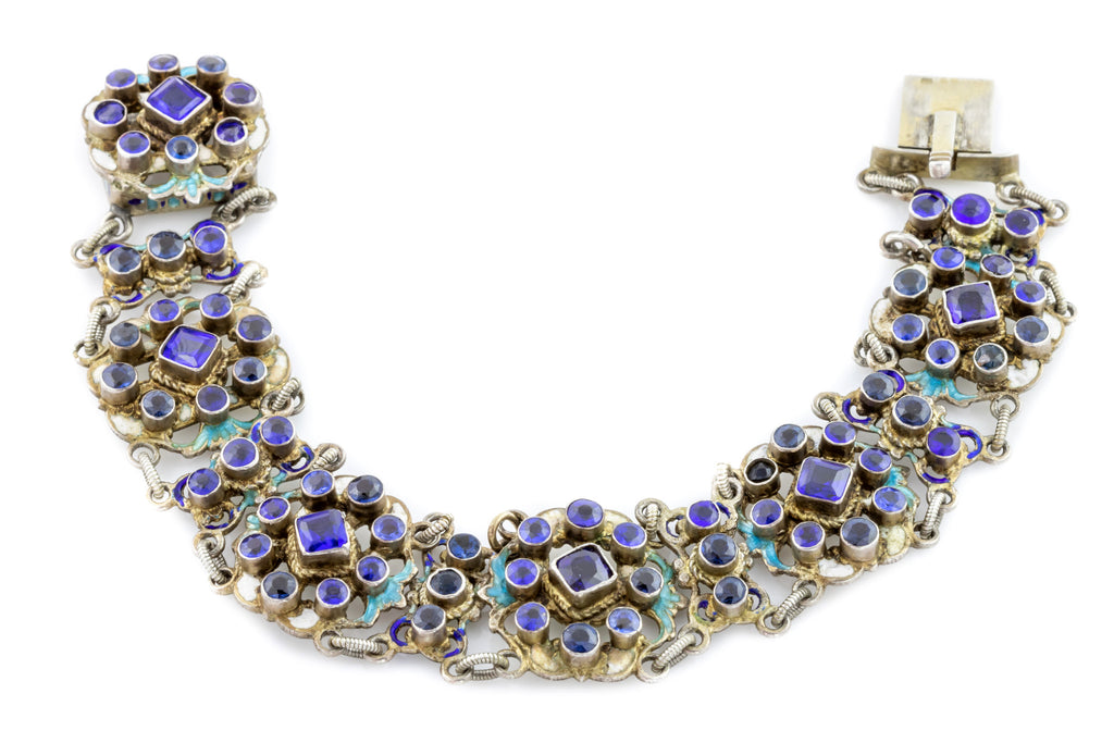 Austro-Hungarian Silver Bracelet with Sapphire Doublets