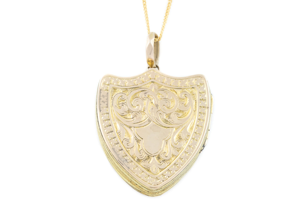 Victorian Shield Locket, 9ct Gold Back and Front