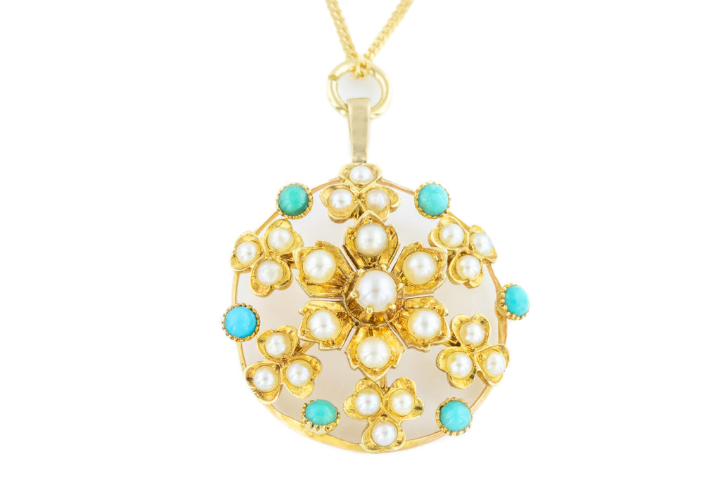 15ct Gold Antique Turquoise and Pearl Starburst Pendant
