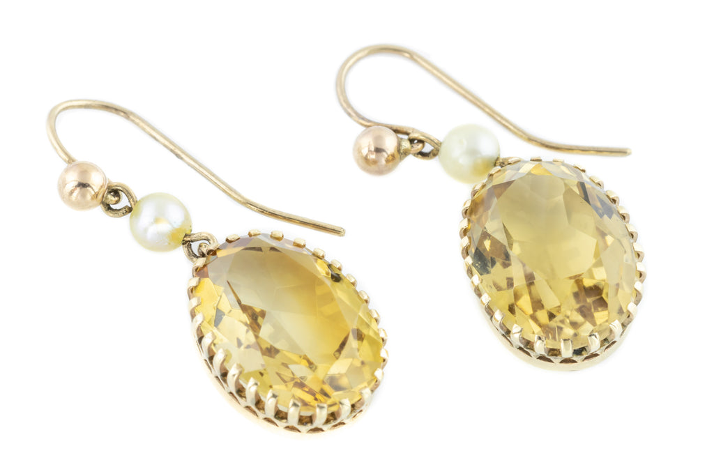 Antique Citrine and Pearl Drop Earrings in 9ct Gold