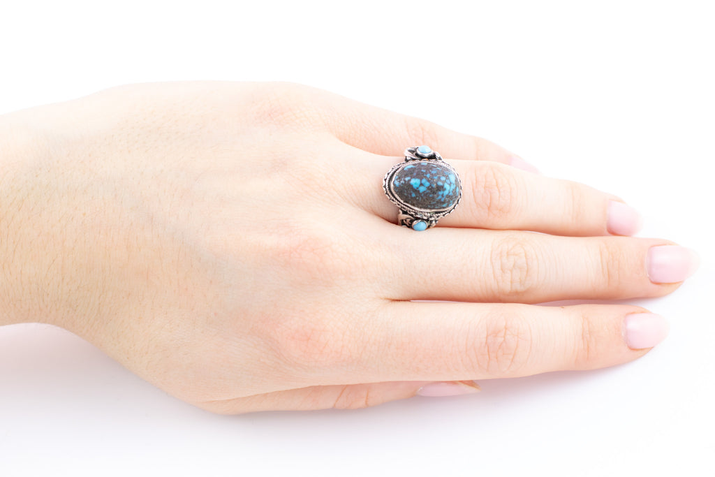 Antique Silver Turquoise Ring